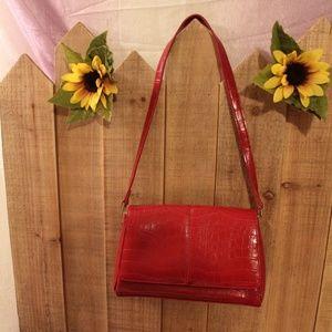 Liz Claiborne Deep Red Shoulder Purse Hand Bag